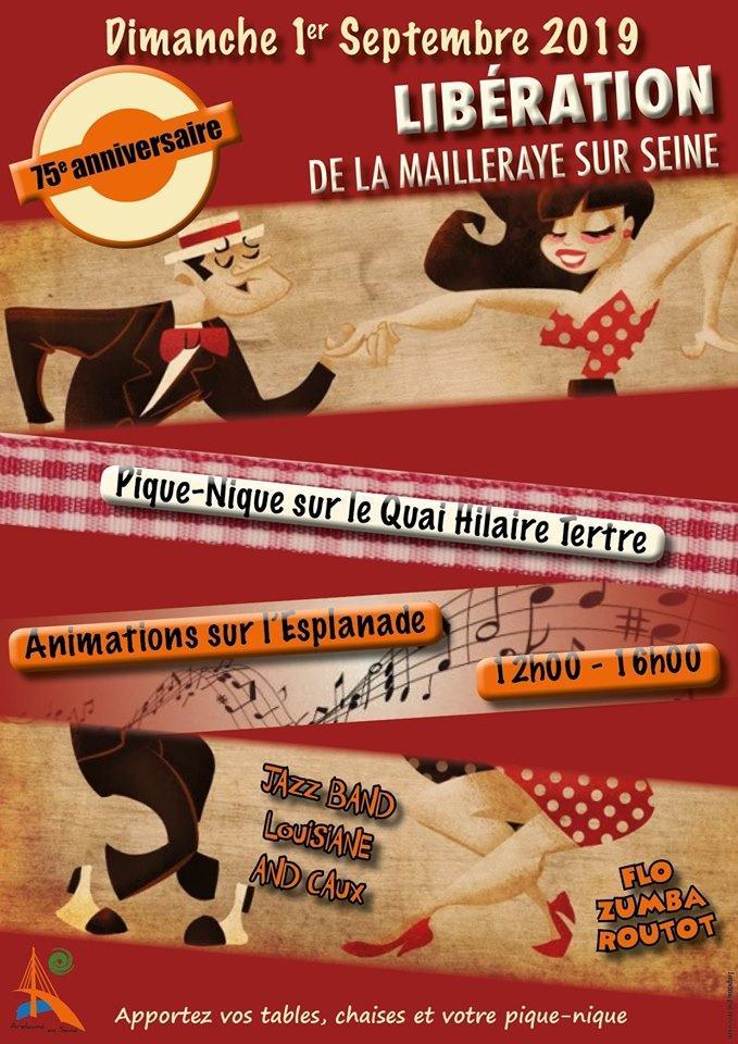 Affiche 75ème anniversaire libération Arelaune en Seine 2019